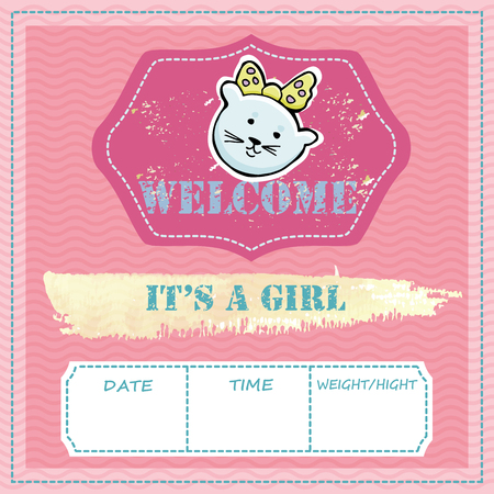 Baby shower and welcome greeting card. Text It's a Girl, Welcome. Little kittens,  sticker. Watercolor texture. Vector illustration.