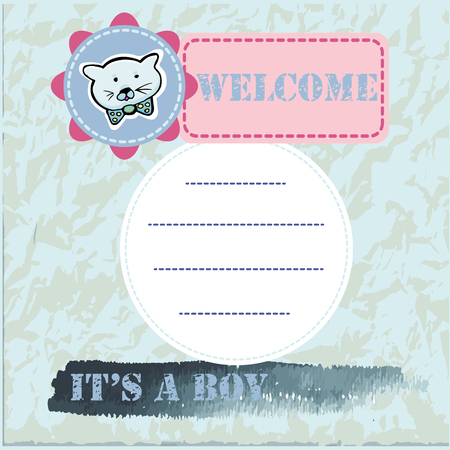 Baby shower and welcome greeting card. Text It's a Boy, Welcome. Little kittens,  sticker. Watercolor texture. Vector illustration.