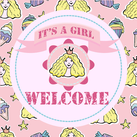 Baby shower and welcome greeting card. Text It's a Girl, Welcome. Little  princess, cupcakes, ice cream, candies. Stickers. Vector illustration.