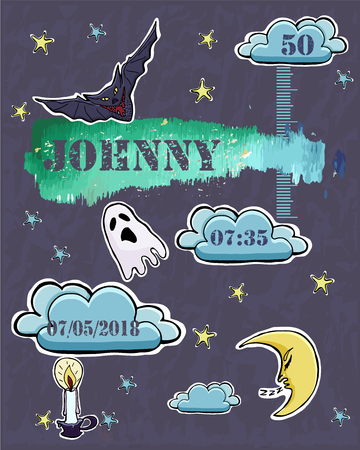 Baby shower card. Baby  newborn metric for boy. Crescent, stars, bat, ghost, candle,  clouds. Gothic theme. Sticker. Watercolor texture. Vector illustration. Ilustração