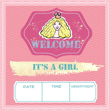 Baby shower and welcome greeting card. Text It's a Boy, Welcome. Little princess,  sticker. Watercolor texture. Vector illustration.