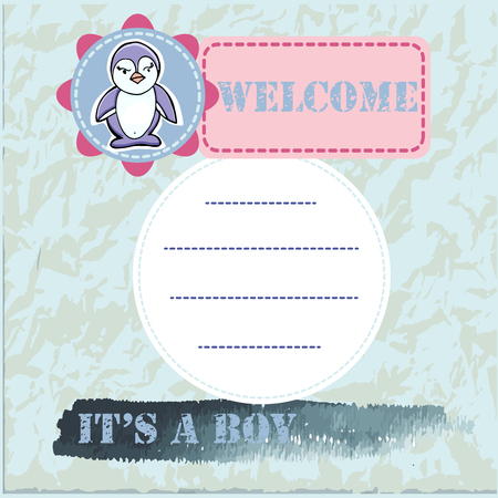 Baby shower and welcome greeting card. Text Its a Boy, Welcome. Little penguin,  sticker. Watercolor texture. Vector illustration.