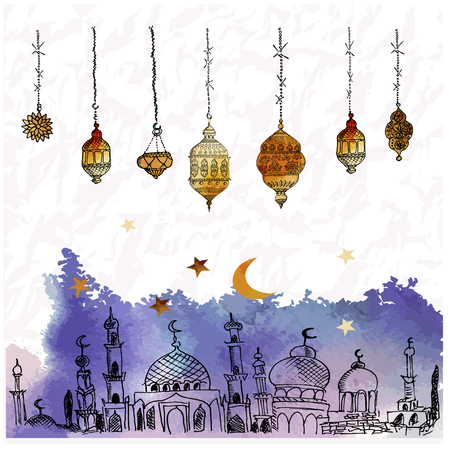 Hand Drawn Vector Ramadan Kareem Greeting Card. Çizim