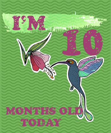 Vector baby milestone card for girl or boy. I am ten months old today. Watercolor texture.