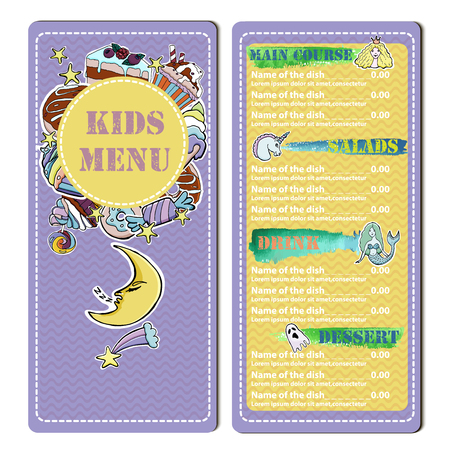 Cute colorful  kids  restaurant menu.   Vector template. Hand drawn illustration of cup cakes, donuts, ice cream, lollipops, candies, cheese cakes. Watercolor texture elements.