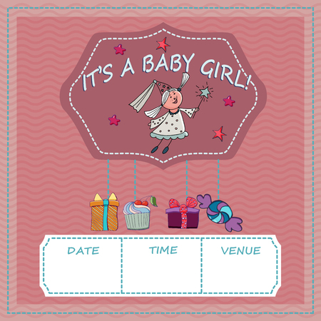 Baby shower and welcome greeting card vector illustration