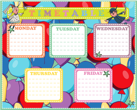 Five-day timetable on a multi-colored pattern with balloons for children Vector illustration