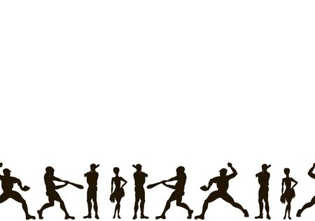Canvas. Vector hand drawn silhouettes of a  baseball players . Cute cartoon character.