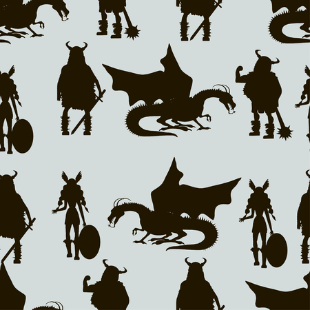 Viking characters - Valkyrie, berserker, warrior, old man, god Odin, god Thor, drakkar, dragon, girl, boy. Vector seamless pattern. Black silhouette.