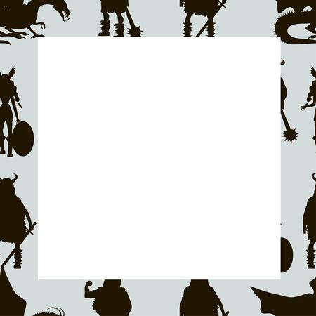 Viking characters - Valkyrie, berserker, warrior, old man, god Odin, god Thor, drakkar, dragon, girl, boy. Vector canvas. Black silhouette with white space.