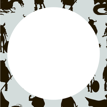 Viking characters - Valkyrie, berserker, warrior, old man, god Odin, god Thor, drakkar, dragon, girl, boy. Vector canvas. Black silhouette with white space.