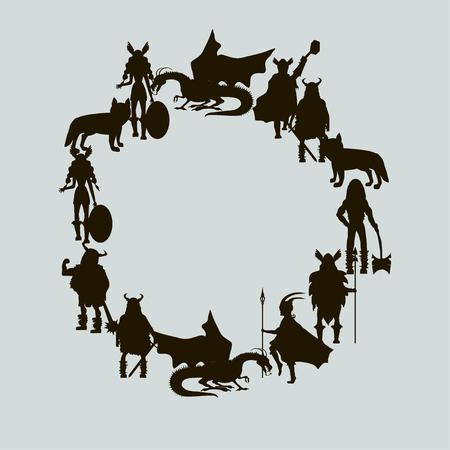 Viking characters - Valkyrie, berserker, warrior, god Odin, god Thor, dragon. Vector wreath Black silhouette. Ilustracja