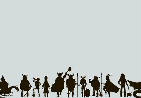 Viking  characters . Valkyrie, berserker, warrior, old man, god Odin, god Thor, drakkar, dragon, girl, boy.Vector canvas. Black silhouette.