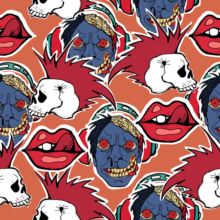 Vector hand drawn seamless patern. Skulls, bones, punks, rock music symbols, zombie. This is a cool creative design for young people, teenagers, rock musicians, bikers. Ilustração