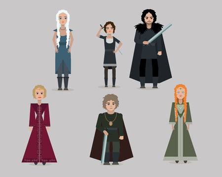 Vector cartoon medieval characters.Lord, queen, bastard, princess.  Flat style.