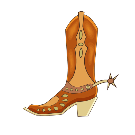 Vector illustration of a cowboy leather boot. Cartoon style. Wild west theme.