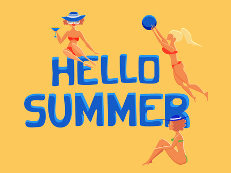Hand written text Hello summer. Cute cartoon characters. Women on a beach. Summer concept. Vector flat illustration.