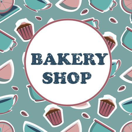 Banner for the bakery shop. Tools for pastry maker. Vector illustration. Seamless background.
