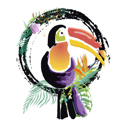Tropical Toucan bird. Wild exotic animal. Vector illustration.