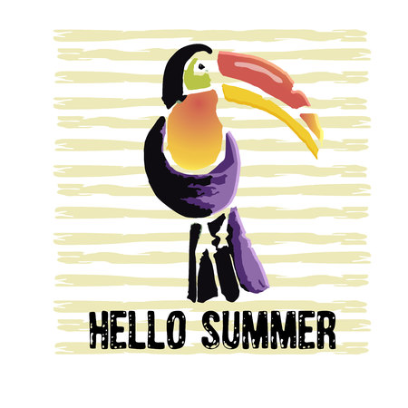 Tropical Toucan bird with grunge elements and ink drops. Wild exotic animal. Text Hello Summer. Vector illustration.