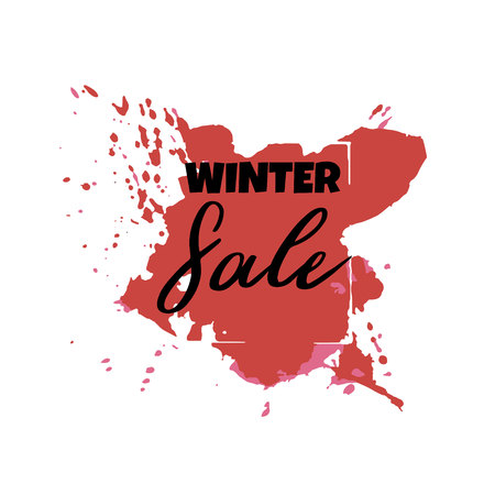 Text Winter Sale, discount banners.Grunge elements, ink drops, abstract background. Vector illustration.