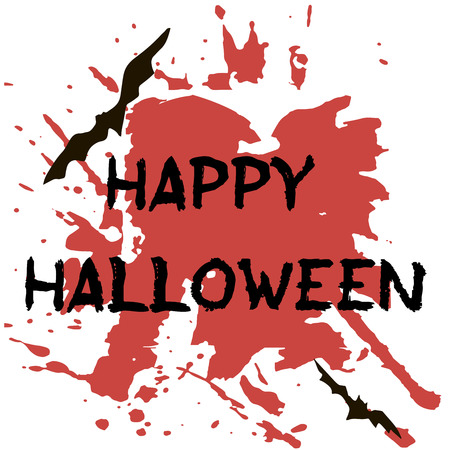 Halloween greeting card. Abctract grunge stains and splashes, bats and spiders, text Happy Halloween.