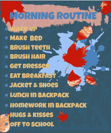 Pupils morning routine. Back to school theme. A beautifully designed daily schedule for school-age children, with abstract spots of paint, autumn leaves. 向量圖像