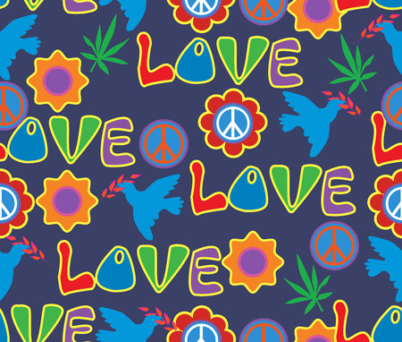 Background in the style of 60x. Psychedelic seamless pattern. Hippie, cannabis leaves, flowers, a symbol of pacifism. Illustration