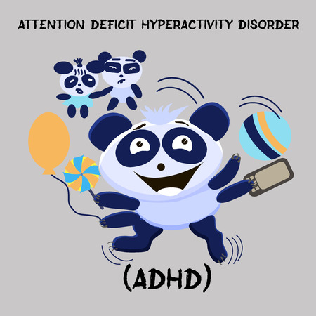 Attention Deficit Hyperactivity Disorder. Mental Health Problem. Little cute hyperactive panda with parents on a gray background. Vector illustration for websites, brochures, magazines. Cartoon, Flat.
