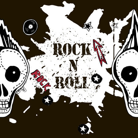 Grunge texture background , text Rock n Roll. Skull and bones. Punk rock character vector illustration. Illustration
