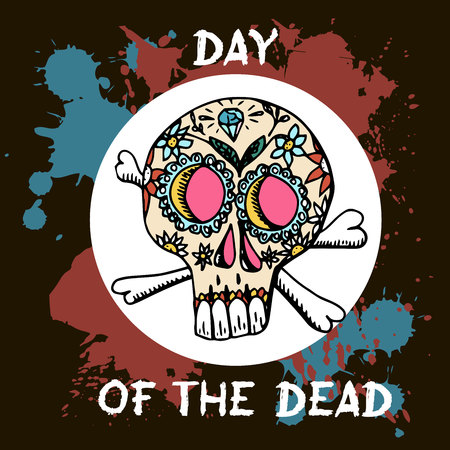 Day Of The Dead. Mexican traditional festival Dia de Los Muertos. Hand drawn skulls with floral decor on a black background.