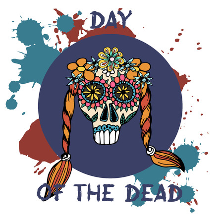 Day Of The Dead. Mexican traditional festival Dia de Los Muertos. Hand drawn skulls with floral decor on a white background.