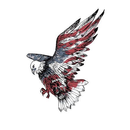 American bald eagle. Hand drawn illustration. Sketch. Watercolor american flag texture. USA symbol.