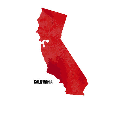 California state. United States Of America. Vector illustration. Watercolor texture.
