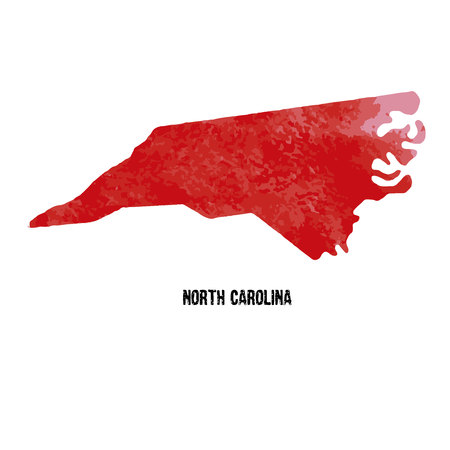 North Carolina. United States Of America. Vector illustration. Watercolor texture. Illustration