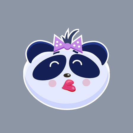 Vector set of cute funny emoji characters. Little Chinese Pangas. Stickers. Flat style.