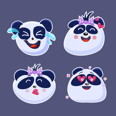 Vector set of cute funny emoji characters. Little  Chinese Pangas. Stickers. Flat style. Illusztráció