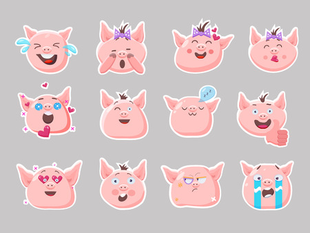 Little pink pigs.Vector set of cute funny emoji characters. Weeping, laughing, sleeping,emory, sad, surprised, angry, scared characters. Stickers. Flat style.