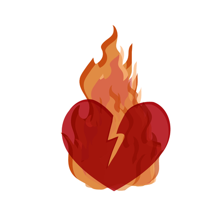 Illustration  in support of the southern California after a wildfires. Wildfires, Broken Heart  isolate on a white background.