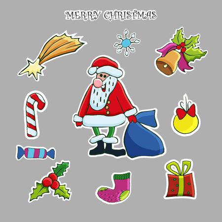 Christmas sticker set. Vector hand drawn clip art. Santa, deer, snowflake, Christmas tree, gift box, poinsettia, holly, mistletoe, christmas ball, bells, gingerbread man. Illusztráció