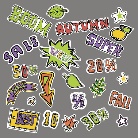 Cute embroidery patches and stickers collection. Autumn sales. Hand drawn vector sketches. Illusztráció