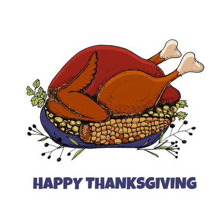 Happy Thanksgiving card. Hand drawn vector illustration. Roast turkey with corn and green peas on a platter. Text Happy Thanksgiving. Illusztráció