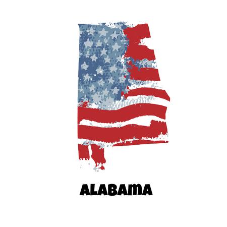 State of Alabama. United States Of America. Vector illustration. Watercolor texture of USA flag. Illusztráció