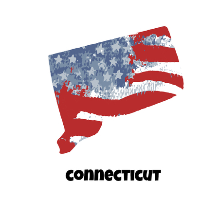 State of Connecticut. United States Of America. Vector illustration. Watercolor texture of USA flag.
