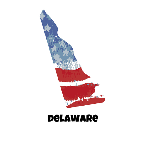 State of Delaware. United States Of America. Vector illustration. Watercolor texture of USA flag. Illusztráció
