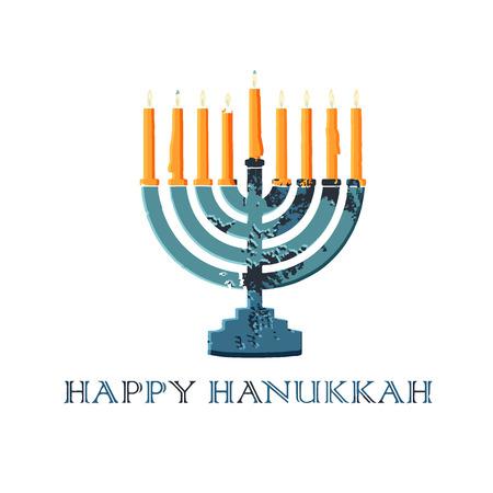 Jewish traditional holiday Hannukah. Greeting card with menorah and text Happy Hanukkah. Ilustracja