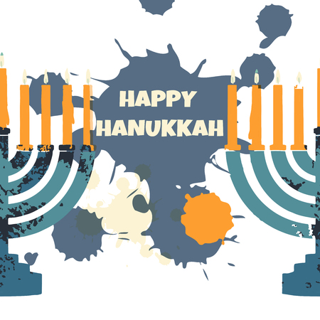 Jewish traditional holiday Hannukah. Greeting card with menorah and text Happy Hanukkah. Illustration