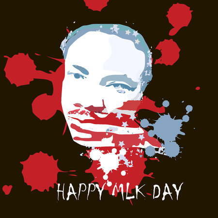 Vector iIlustration of Martin Luther King, Jr. to celebrate MLK day. American flag texture.