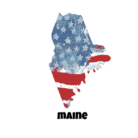 State of Maine. United States Of America. Vector illustration. Watercolor texture of USA flag. Illusztráció