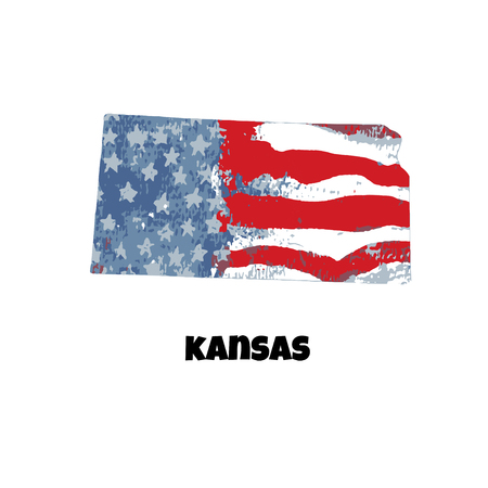 State of Kansas. United States Of America. Vector illustration. Watercolor texture of USA flag.